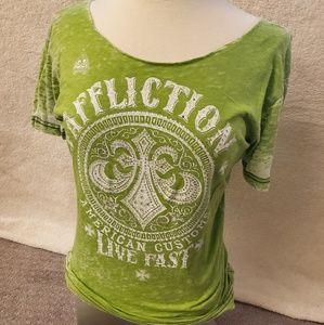 Green Rinestone Affliction T collar free